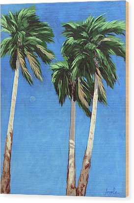 Wood Print featuring the painting Daytime Moon In Palm Springs by Linda Apple