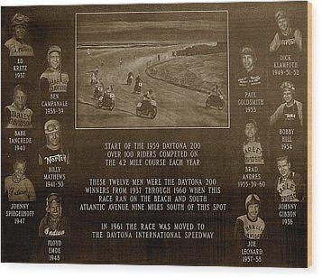 Daytona 200 Plaque Wood Print by David Lee Thompson