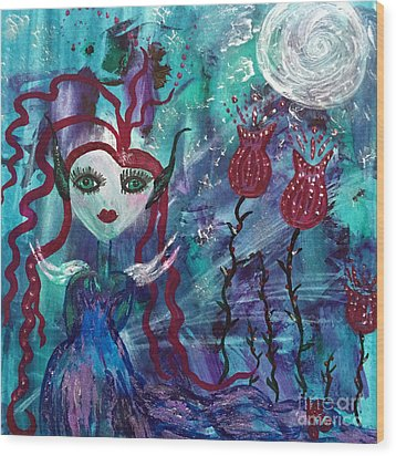 Wood Print featuring the painting Dazzle by Julie Engelhardt