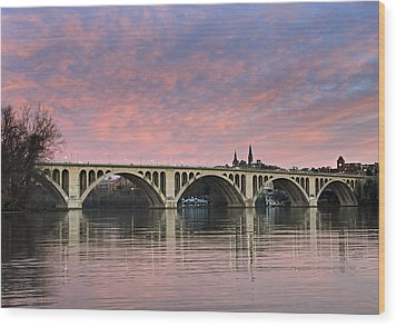 Dc Sunrise Over The Potomac River Wood Print by Brendan Reals