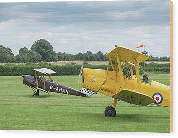 Wood Print featuring the photograph De Havilland Tiger Moths Taxiing by Gary Eason