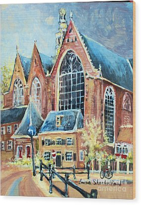 De Ode Kerk Wood Print by Linda Shackelford