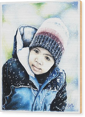 Wood Print featuring the drawing Deacon In The Snow by Mike Ivey