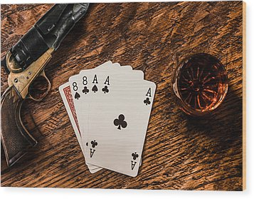 Dead Mans Hand A Gun And A Shot Of Whiskey Wood Print by Semmick Photo