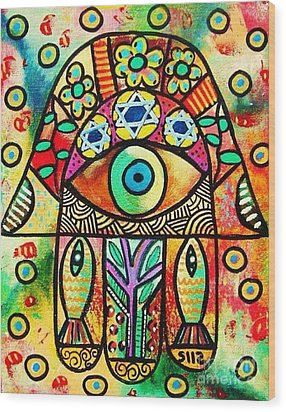 Dead Sea Fish Hamsa Wood Print