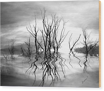Wood Print featuring the photograph Dead Trees Bw by Susan Kinney