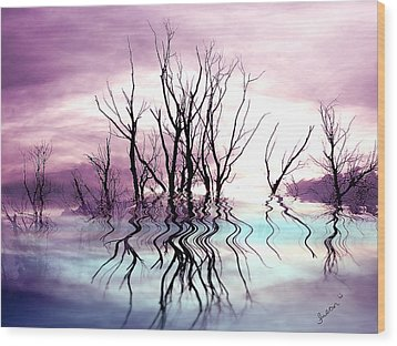 Wood Print featuring the photograph Dead Trees Colored Version by Susan Kinney