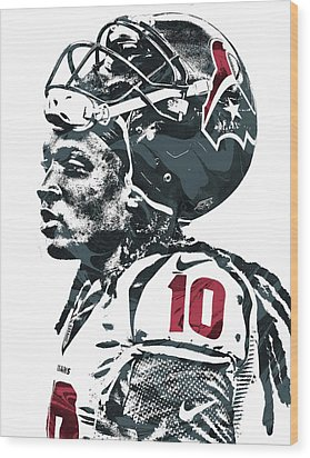 Deandre Hopkins Houston Texans Pixel Art 2 Wood Print by Joe Hamilton