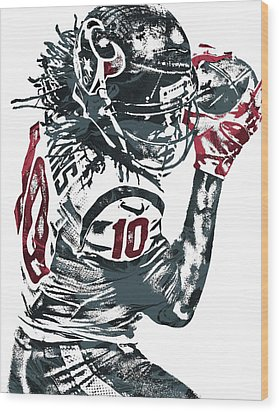 Deandre Hopkins Houston Texans Pixel Art Wood Print by Joe Hamilton