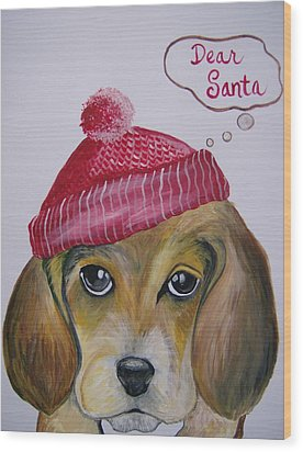 Wood Print featuring the painting Dear Santa by Leslie Manley