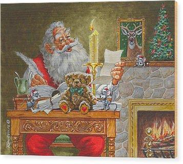 Dear Santa Wood Print by Richard De Wolfe