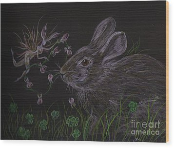 Wood Print featuring the drawing Dearest Bunny Eat The Clover And Let The Garden Be by Dawn Fairies
