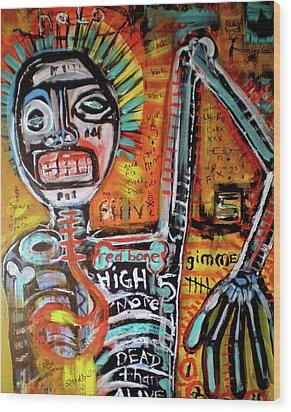 Death Of Basquiat Wood Print by Robert Wolverton Jr