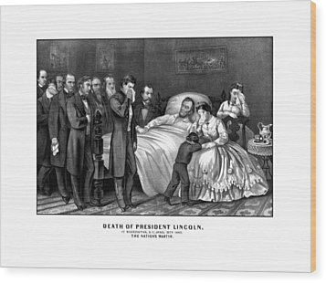 Death Of President Lincoln Wood Print by War Is Hell Store