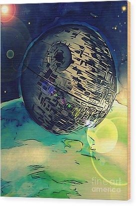 Death Star Illustration  Wood Print