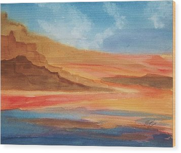 Wood Print featuring the painting Death Valley by Ellen Levinson