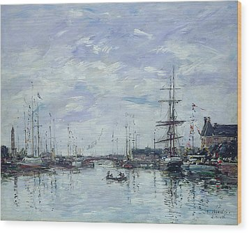 Deauville The Dock Wood Print by Eugene Louis Boudin