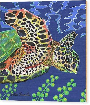 Debs Honu Wood Print by Debbie Chamberlin
