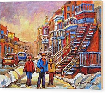 Debullion Street Winter Walk Wood Print by Carole Spandau