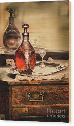 Wood Print featuring the photograph Decanter And Glass by Jill Battaglia