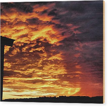 Wood Print featuring the painting December Austin Sunset  by Layne William LoMaglio