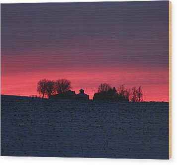 December Farm Sunset Wood Print by Kathy M Krause