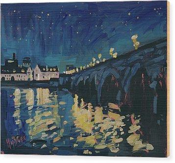 December Lights At The Old Bridge Wood Print by Nop Briex