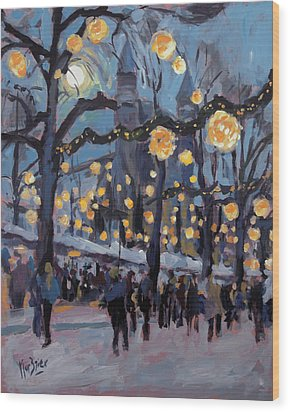 December Lights At The Our Lady Square Maastricht 1 Wood Print by Nop Briex