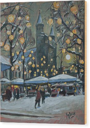 December Lights At The Our Lady Square Maastricht 2 Wood Print by Nop Briex