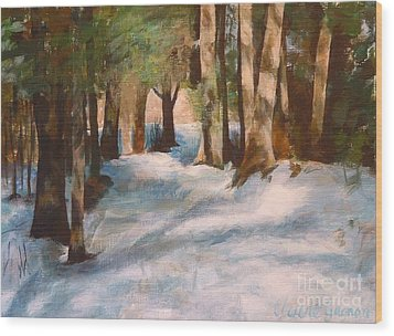December Snow Path Wood Print by Claire Gagnon