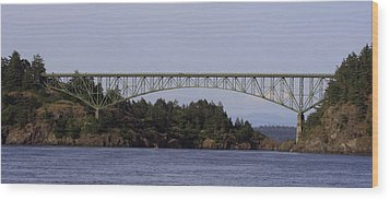 Deception Pass Brige Pano Wood Print by Mary Gaines