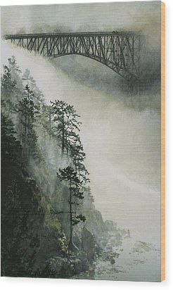 Deception Pass Fog Wood Print by Perry Woodfin