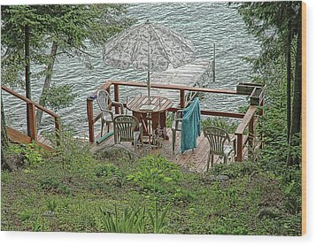 Deck At Blue Sea Lake Wood Print by Ginette Thibault