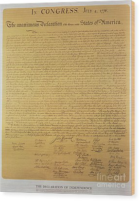Declaration Of Independence Wood Print by American School