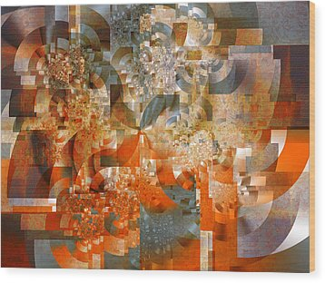 Wood Print featuring the digital art Deco Bubbles by Richard Ortolano