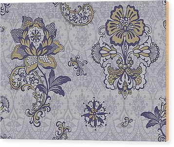 Deco Flower Blue Wood Print by JQ Licensing