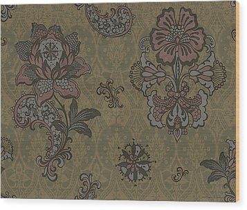 Deco Flower Brown Wood Print by JQ Licensing