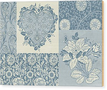 Deco Heart Blue Wood Print by JQ Licensing
