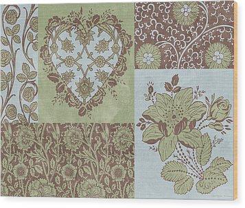 Deco Heart Sage Wood Print by JQ Licensing