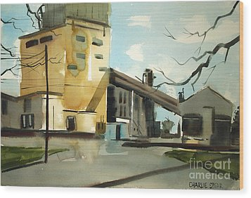 Wood Print featuring the painting Decommisioned Coal Power  by Charlie Spear