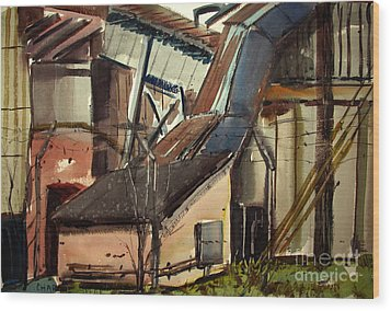 Wood Print featuring the painting Deconstruction Coal Fired by Charlie Spear