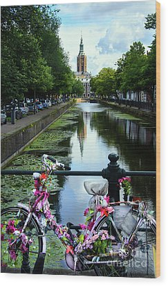 Wood Print featuring the photograph Canal And Decorated Bike In The Hague by RicardMN Photography