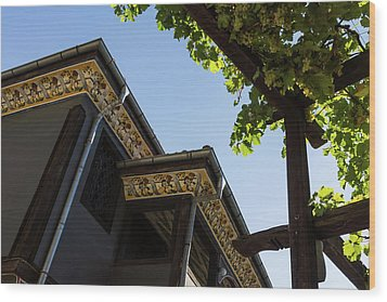 Decorated Eaves And Grapes Trellis - Old Town Plovdiv Bulgaria Wood Print by Georgia Mizuleva