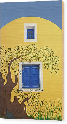 Decorated House Wood Print by Meirion Matthias