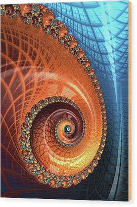 Wood Print featuring the digital art Decorative Fractal Spiral Orange Coral Blue by Matthias Hauser