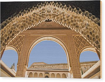 Decorative Moorish Architecture In The Nasrid Palaces At The Alhambra Granada Spain Wood Print by Mal Bray