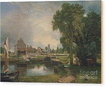 Dedham Lock And Mill Wood Print by John Constable