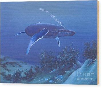 Deep Blue Wood Print by Michael Allen
