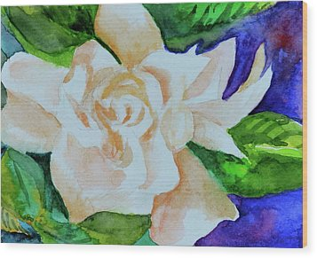 Wood Print featuring the painting Deep Gardenia by Beverley Harper Tinsley