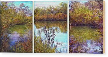 Deep Lake Reflections - Triptych Wood Print